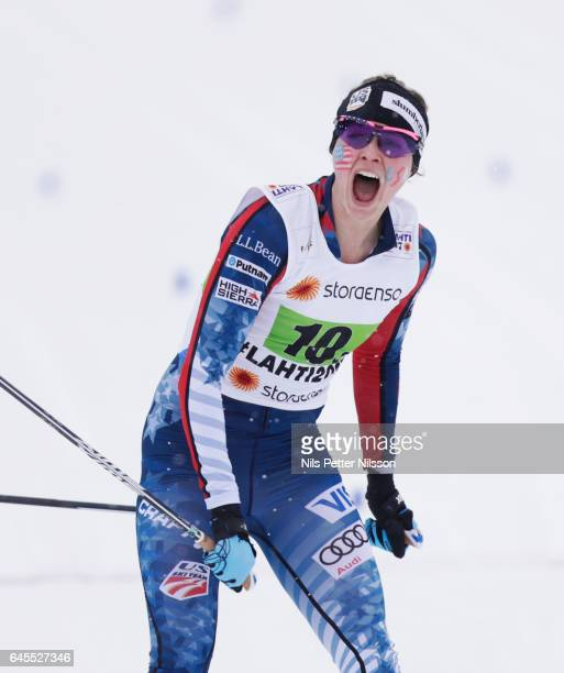 Jessica Diggins of USA and Stina Nilsson of Sweden during the cross country team sprint during the FIS Nordic World Ski Championships on February 26...