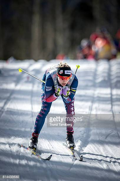 Jessica Diggins of USA competes during Cross Country Ladies 15 km Sprint Classic on March 08 2016 in Canmore Canada