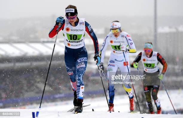 Jessica Diggins of USA competes in the Men's and Women's Cross Country Team Sprint qualification race during the FIS Nordic World Ski Championships...