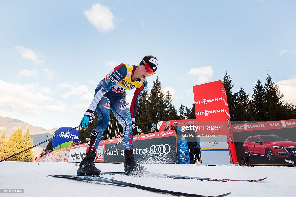 Jessica Diggins of USA crosses the finishing line during the women's 9 km F Pursuit on January 8, 2017 in Val di Fiemme, Italy.