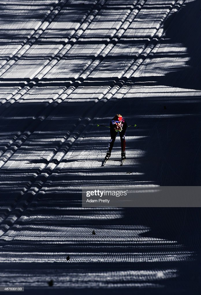 Jessica Diggins of USA cruises down the hill during cross country training ahead of the Sochi 2014 Winter Olympics at the Laura Cross-Country Ski and Biathlon Center on February 7, 2014 in Sochi, Russia.