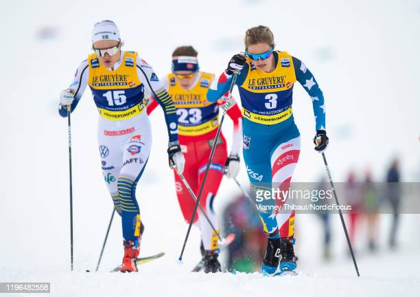 Jessica Diggins of USA takes third place during the men's/women's cross country springt at the FIS nordic world cup Oberstdorf on January 26 2020 in...