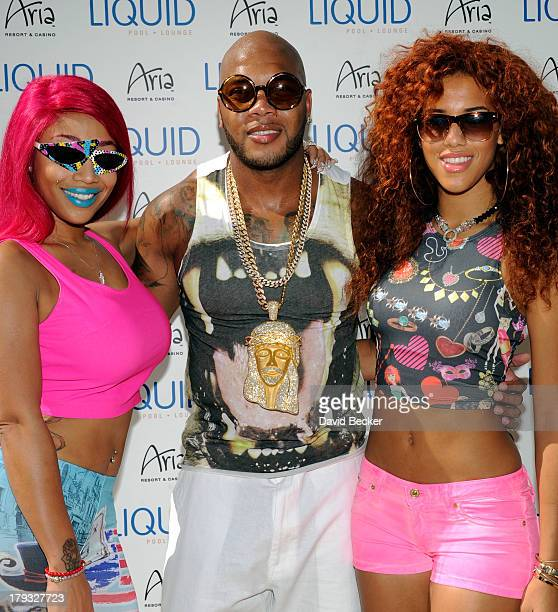 Jessica Dime recording artist Flo Rida and singer Natalie La Rose arrive at the Liquid Pool Lounge at the Aria Resort Casino at CityCenter to perform...