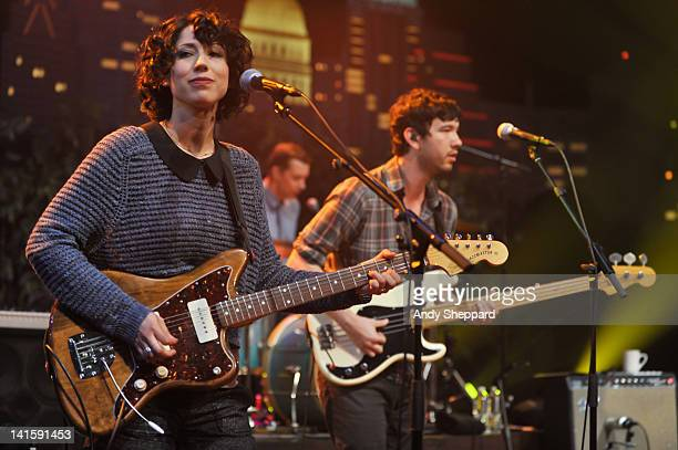 Jessica Dobson Joe Plumber and Yuuki Matthews of The Shins perform on stage for KLRUTV Austin City Limits Live at The Moody Theatre on March 18 2012...