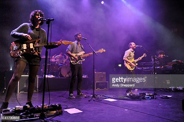 Jessica Dobson Joe Plumber Yuuki Matthews James Mercer and Richard Swift of The Shins perform on stage at HMV Forum on March 22 2012 in London United...