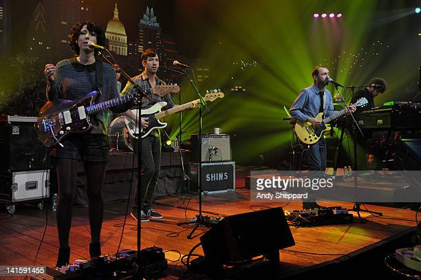 Jessica Dobson Yuuki Matthews James Mercer and Richard Swift of The Shins perform on stage for KLRUTV Austin City Limits Live at The Moody Theatre on...