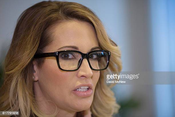 jessica drake speaks during a press conference at the office of attorney Gloria Allred to accuse Republican presidential candidate Donald Trump of...