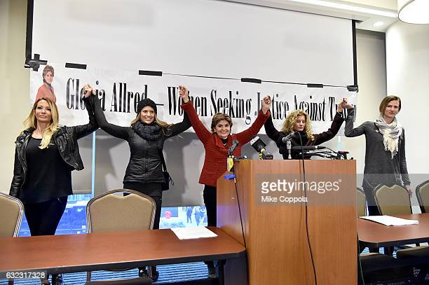 Jessica Drake, Temple Taggart, Gloria Allred, Summer Zervos and Rachel Crooks stand in solidarity during the Accusers of President Donald Trump Hold...