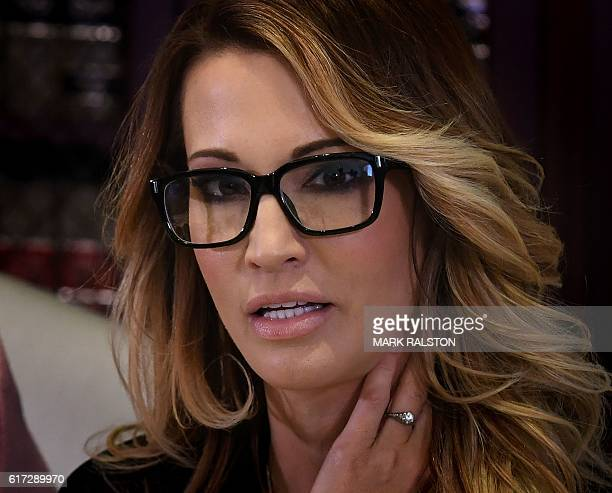 Jessica drake, who works for an adult film company, speaks beside attorney Gloria Allred about allegations of sexual misconduct against Republican...