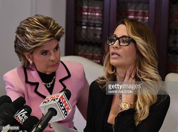 Jessica drake , who works for an adult film company speaks beside attorney Gloria Allred about allegations of sexual misconduct against Republican...