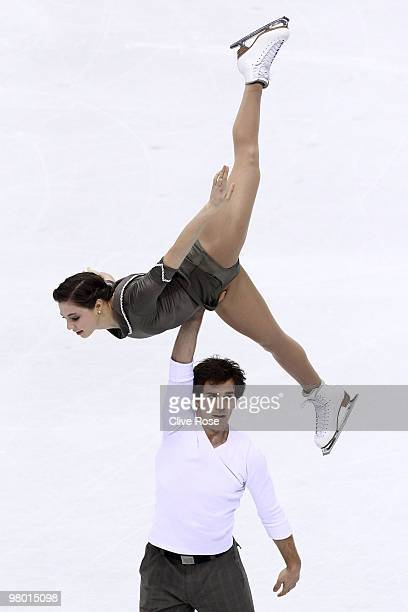 Jessica Dube and Bryce Davison of Canada compete in the Pairs Free Skate during the 2010 ISU World Figure Skating Championships on March 24 2010 at...