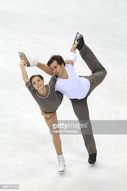 Jessica Dube and Bryce Davison of Canada compete in the Pairs Free Skating during the 2010 ISU World Figure Skating Championships on March 24 2010 in...