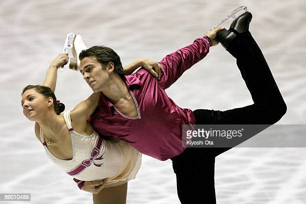Jessica Dube and Bryce Davison of Canada compete in the Pairs Short Program during the ISU World Team Trophy 2009 Day 2 at Yoyogi National Gymnasium...