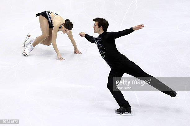 Jessica Dube and Bryce Davison of Canada compete in the Pairs Short Program during the 2010 ISU World Figure Skating Championships on March 23 2010...