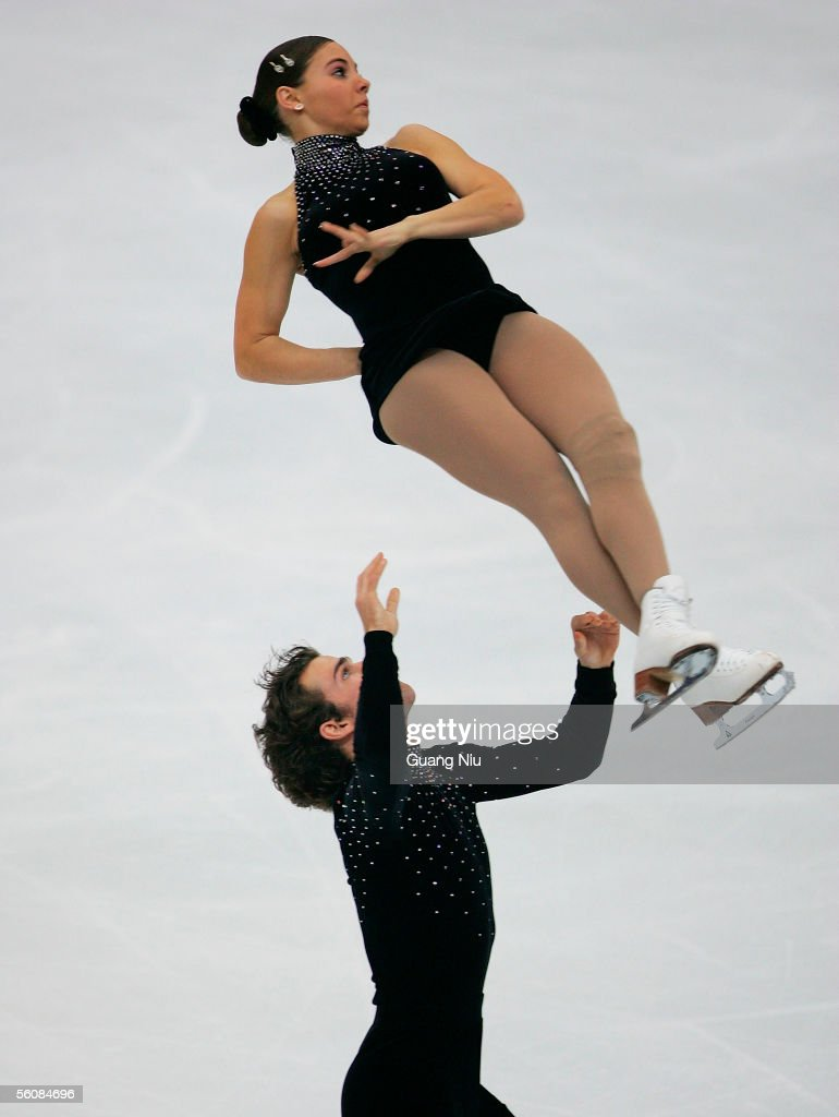 Jessica Dube (top) and Bryce Davison of Canada in action during the 2005 China Figure Skating Championship for pairs free skating at Capital Gymnasium on November 4, 2005 in Beijing, China. Dube And Dacison won the fourth place.