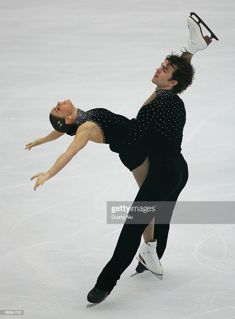 Jessica Dube (L) and Bryce Davison of Canada in action during the 2005 China Figure Skating Championship for pairs free skating at Capital Gymnasium on November 4, 2005 in Beijing, China. Dube And Dacison won the fourth place.