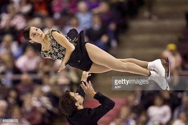 Jessica Dube and Bryce Davison of Canada perform their free skate at the HomeSense Skate Canada International at Scotiabank Place in Ottawa, on...