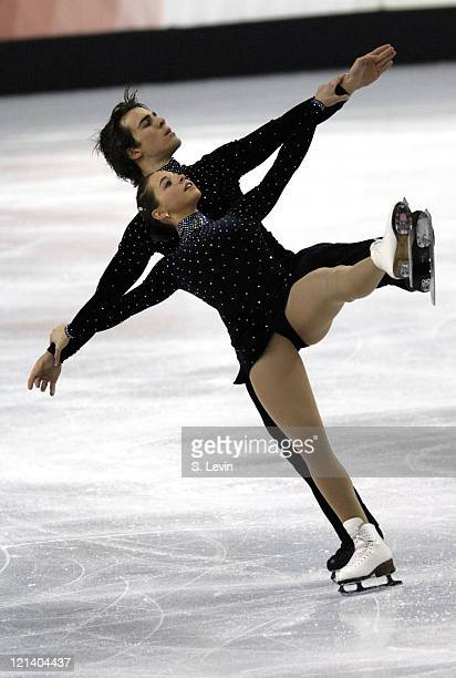 Jessica Dube and Bryce Davison of Canada skate in the Figure Skating Pairs Free Skate Program at the Palavela skating venue on February 13 2006 in...