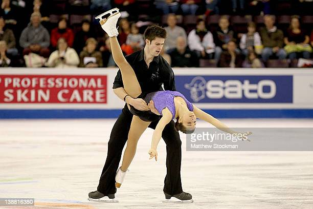 Jessica Dube and Sebastien Wolfe of Canada compete in the Pairs Free Skate during the ISU Four Continents Figure Skating Championships at World Arena...