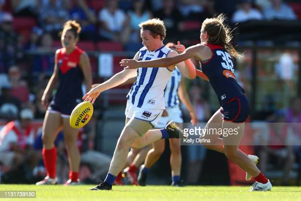 Jessica Duffin of the Kangaroos kicks the ball during the round 4 AFLW match between the Melbourne Demons and North Melbourne Kangaroos at Casey...