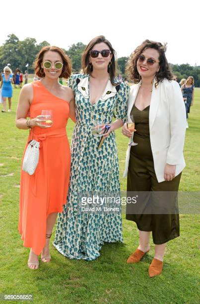 Jessica Ellerby Aisling Bea and Hannah JamesScott attend the Audi Polo Challenge at Coworth Park Polo Club on July 1 2018 in Ascot England