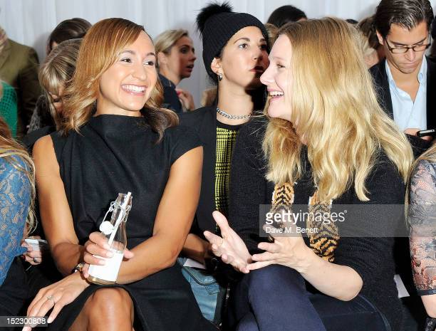 Jessica Ennis and Romola Garai sit in the front row during the Mulberry Spring/Summer 2013 Show during London Fashion Week at Claridge's on September...