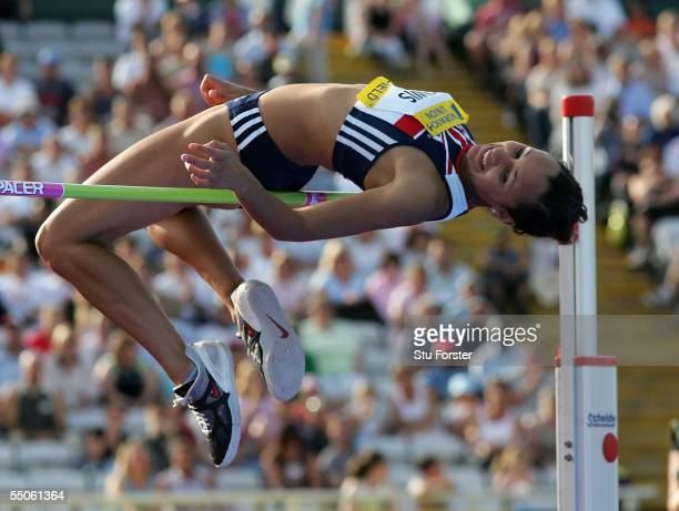 Jessica Ennis clears the bar in the Womens High Jump during the Norwich Union British Grand Prix at the Don Valley Stadium on August 21 2005 in...