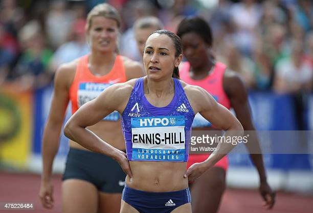 Jessica Ennis hill of Great Britain after competing in the 100 metres hurdles in the women's heptathlon during the Hypomeeting Gotzis 2015 at the...