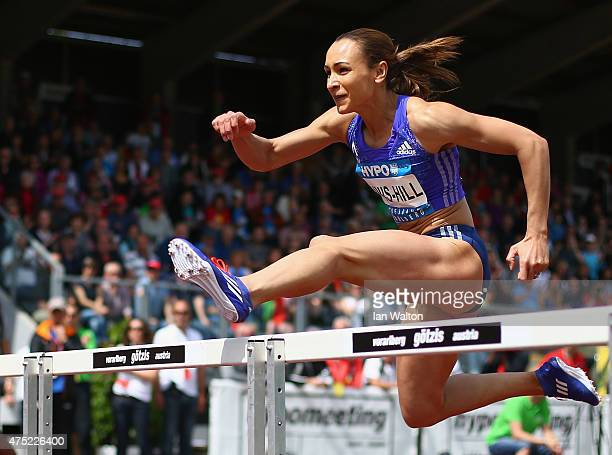 Jessica Ennis hill of Great Britain competes in the 100 metres hurdles in the women's heptathlon during the Hypomeeting Gotzis 2015 at the Mosle...