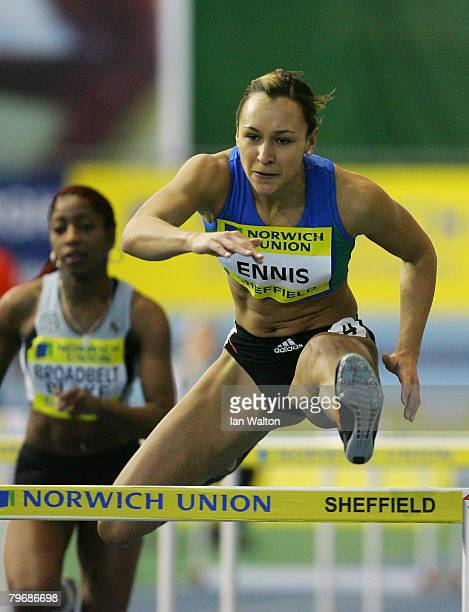 Jessica Ennis in action in the Women's 60 metres hurdles heats during the Norwich Union World Trials UK championships at The English Institute of...