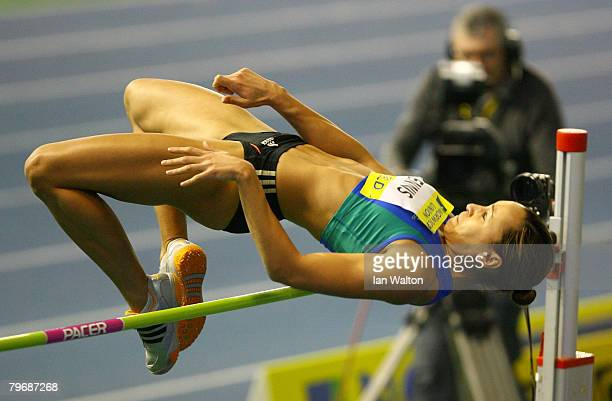 Jessica Ennis in action in the Women's high jump heats during the Norwich Union World Trials UK championships at The English Institute of Sport on...