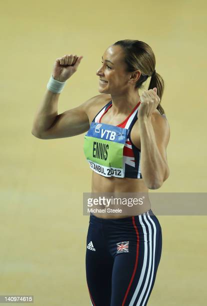 Jessica Ennis of Great Britain celebrates a successful attempt as competes in the Women's Shot Put in the Pentathlon during day one of the 14th IAAF...