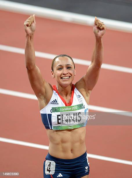 Jessica Ennis of Great Britain celebrates after winning gold in the Women's Heptathlon on Day 8 of the London 2012 Olympic Games at Olympic Stadium...