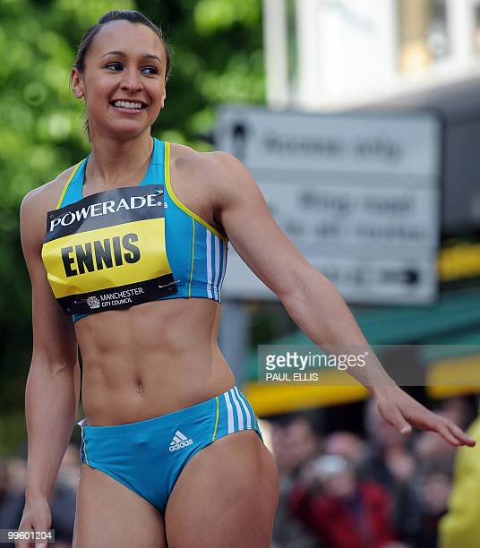 Jessica Ennis of Great Britain celebrates after winning the Women's 200m during the Great city games in Manchester in northwest England on May 16...