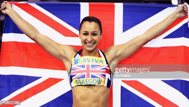 Jessica Ennis of Great Britain celebrates winning the women's 60m Hurdles at Kelvin Hall on January 29, 2011 in Glasgow, Scotland.