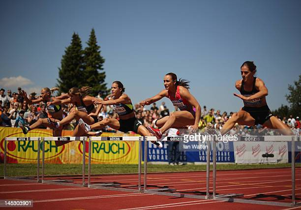 Jessica Ennis of Great Britain competes in the 100 metres hurdles in the women's heptathlon during the Hypomeeting Gotzis 2012 at the Mosle Stadiom...