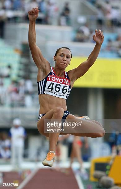 Jessica Ennis of Great Britain competes in the Long Jump during the Women's Heptathlon on day two of the 11th IAAF World Athletics Championships on...