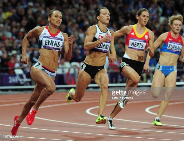 Jessica Ennis of Great Britain competes in the Women's Heptathlon 200m on Day 7 of the London 2012 Olympic Games at Olympic Stadium on August 3, 2012...