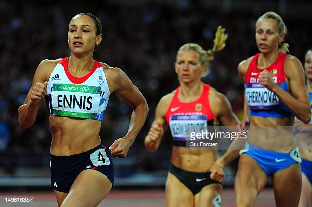 Jessica Ennis of Great Britain competes in the Women's Heptathlon 800m to win overall gold on Day 8 of the London 2012 Olympic Games at Olympic...