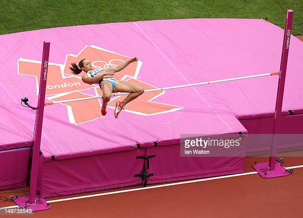 Jessica Ennis of Great Britain competes in the Women's Heptathlon High Jump on Day 7 of the London 2012 Olympic Games at Olympic Stadium on August 3,...