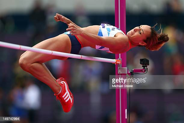 Jessica Ennis of Great Britain competes in the Women's Heptathlon High Jump on Day 7 of the London 2012 Olympic Games at Olympic Stadium on August 3...