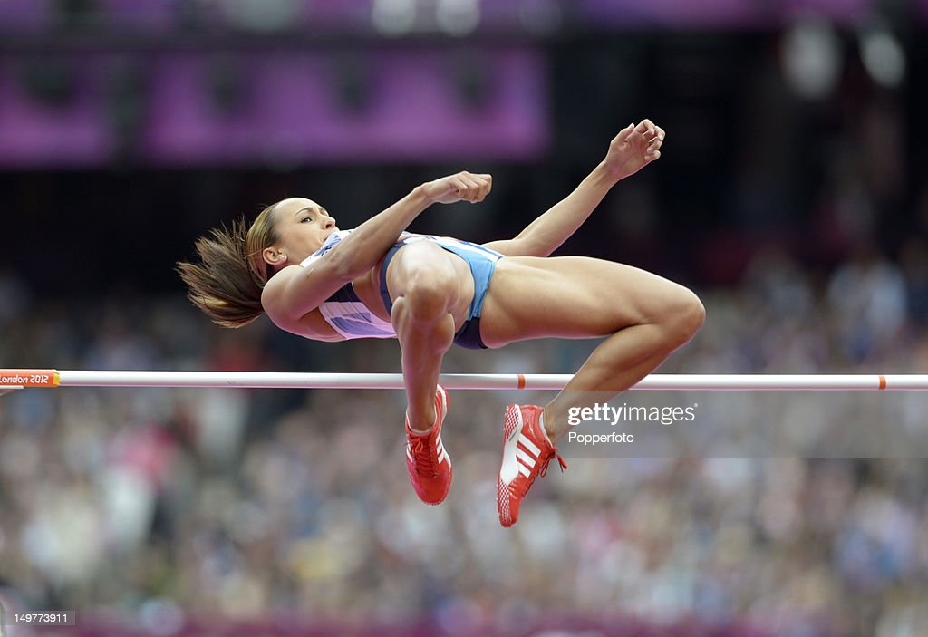 Jessica Ennis of Great Britain competes in the Women's Heptathlon High Jump on Day 7 of the London 2012 Olympic Games at Olympic Stadium on August 3, 2012 in London, England.