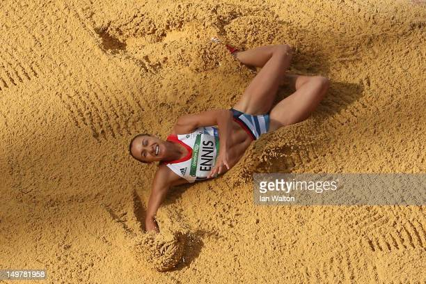 Jessica Ennis of Great Britain competes in the Women's Heptathlon Long Jump on Day 8 of the London 2012 Olympic Games at Olympic Stadium on August 4,...