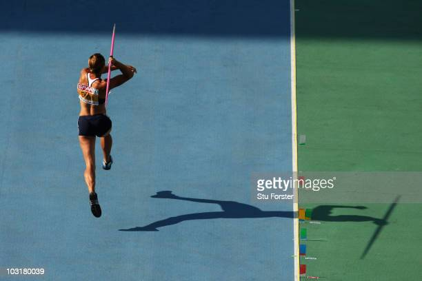 Jessica Ennis of Great Britain competes in the Womens Heptathlon Javelin during day five of the 20th European Athletics Championships at the Olympic...