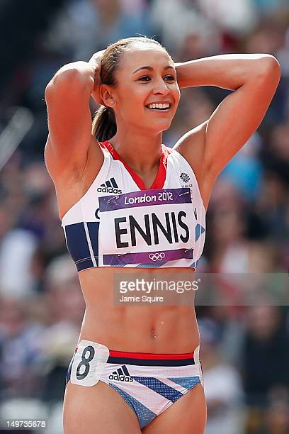 Jessica Ennis of Great Britain looks on after competing in the Women's Heptathlon 100m Hurdles Heat 1 on Day 7 of the London 2012 Olympic Games at...