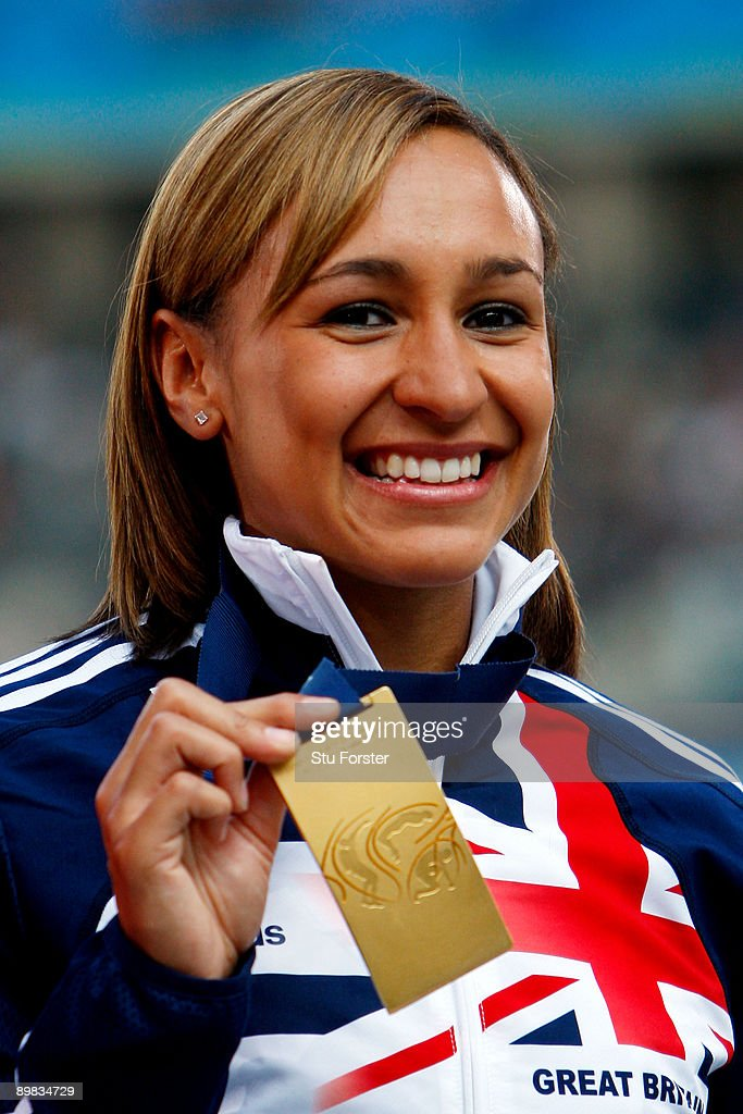 Jessica Ennis of Great Britain & Northern Ireland receives the gold medal during the medal ceremony for the women's Heptathlon during day three of the 12th IAAF World Athletics Championships at the Olympic Stadium on August 17, 2009 in Berlin, Germany.