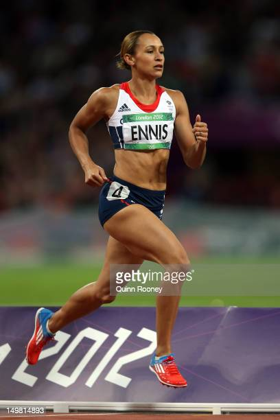 Jessica Ennis of Great Britain on her way to winning gold in the Women's Heptathlon on Day 8 of the London 2012 Olympic Games at Olympic Stadium on...