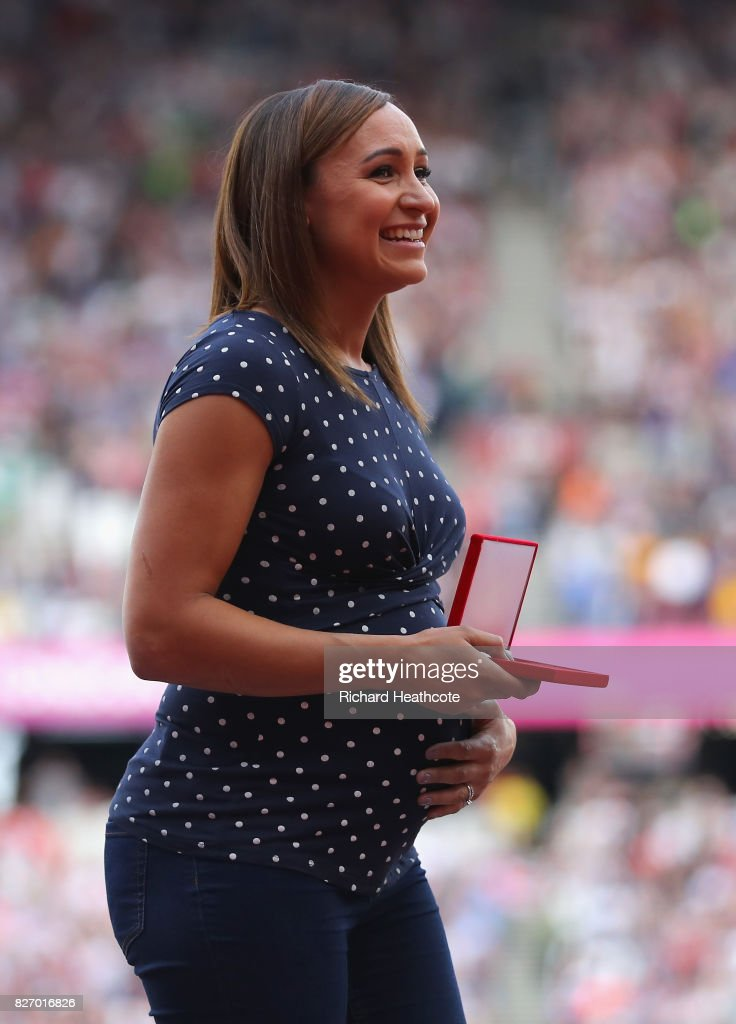 Jessica Ennis of Great Britain, receives her reallocated gold medal for the Women's Heptathlon at the 2011 Daegu Championships during day three of the 16th IAAF World Athletics Championships London 2017 at The London Stadium on August 6, 2017 in London, United Kingdom.