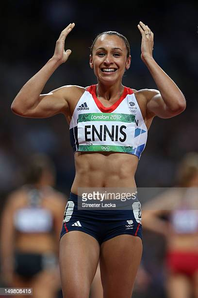 Jessica Ennis of Great Britain smiles after competing in the Women's Heptathlon 800m to win overall gold on Day 8 of the London 2012 Olympic Games at...