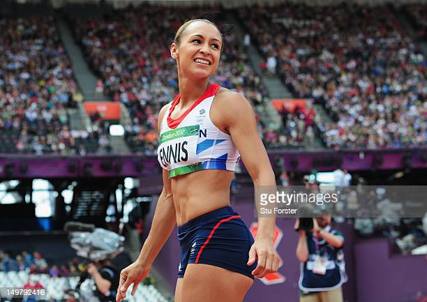 Jessica Ennis of Great Britain smiles during the Women's Heptathlon Javelin Throw on Day 8 of the London 2012 Olympic Games at Olympic Stadium on...